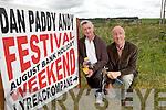 Committee members Michael Mangan with Joe Harrington prepare for the annual Dan Paddy Andy Festival to be held in Lyreacrompane this August Bank Holiday weekend..