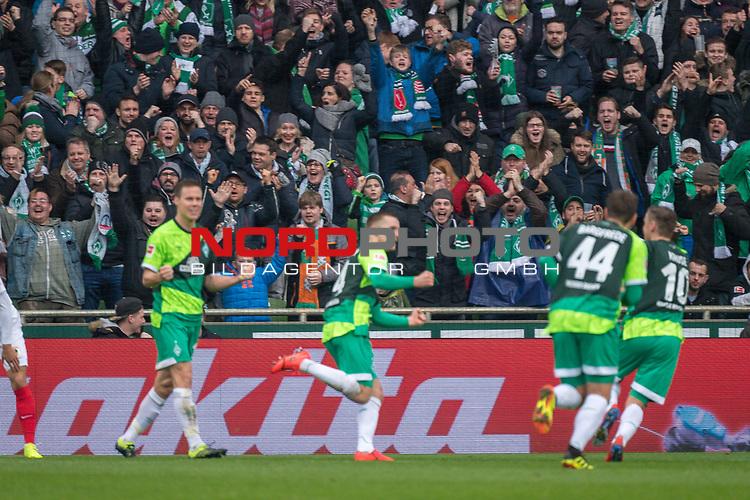 10.02.2019, Weser Stadion, Bremen, GER, 1.FBL, Werder Bremen vs FC Augsburg, <br /> <br /> DFL REGULATIONS PROHIBIT ANY USE OF PHOTOGRAPHS AS IMAGE SEQUENCES AND/OR QUASI-VIDEO.<br /> <br />  im Bild<br /> <br /> jubel 2:0 Johannes Eggestein (Werder Bremen #24) Philipp Bargfrede (Werder Bremen #44)<br /> Max Kruse (Werder Bremen #10)<br /> Niklas Moisander (Werder Bremen #18)<br /> <br /> Foto &copy; nordphoto / Kokenge