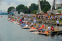 Vintage hydroplanes at the dock (can you spot yourself?)...10-12 July, 2009, 100th Gold Cup, Detroit River, Detroit, MI USA..©2009 F.Peirce Williams, USA.