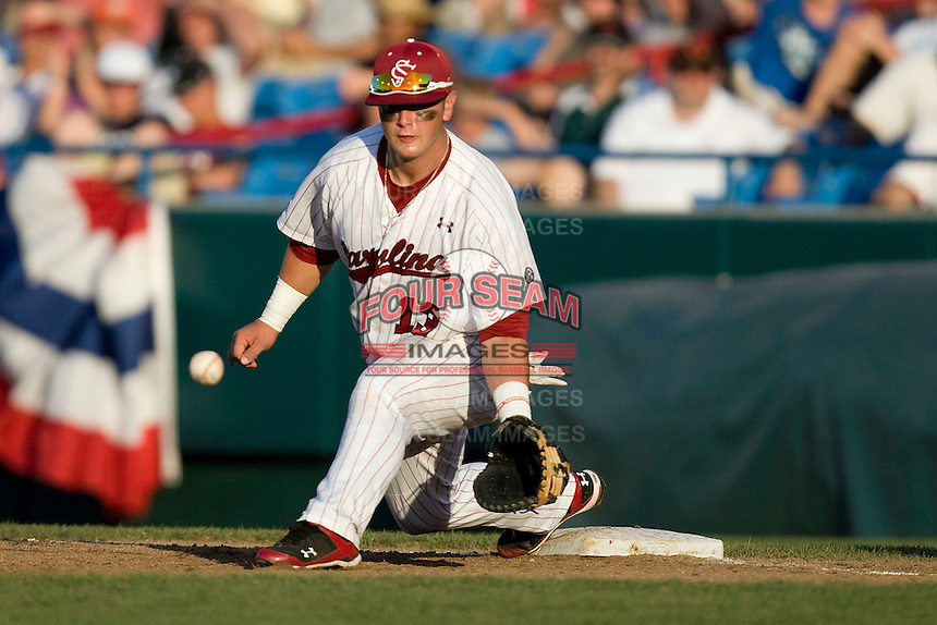 South Carolina 1B Christian Walker in Game 14 of the NCAA Division One Men's College World Series on June 26th, 2010 at Johnny Rosenblatt Stadium in Omaha, Nebraska.  (Photo by Andrew Woolley / Four Seam Images)