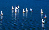 Hoofer Sailing Club members participate in sailboat races on Lake Mendota, as seen in an aerial view from atop Van Hise Hall, looking northeast.<br /> <br /> Client: University of Wisconsin-Madison<br /> &copy; UW-Madison University Communications 608-262-0067<br /> Photo by: Michael Forster Rothbart<br /> Date: 06/01     File#:   color slide