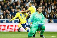 UD Las Palmas' Tana Dominguez (l) and David Simon (c) celebrate goal in presence of Real Madrid's Keylor Navas dejected during La Liga match. March 1,2017. (ALTERPHOTOS/Acero) /NortePhoto.com