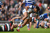 Anthony Watson of Bath Rugby gets past George Worth of Leicester Tigers. Gallagher Premiership match, between Leicester Tigers and Bath Rugby on May 18, 2019 at Welford Road in Leicester, England. Photo by: Patrick Khachfe / Onside Images