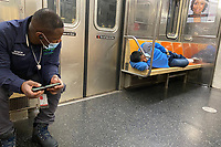 NEW YORK, NY-. - MAY 17: Homeless continue to sleep on subway despite NYC's efforts to move them and place them in shelters during the coronavirus pandemic in New York City on May 17, 2020. <br /> CAP/MPI/RMP<br /> ©RMP/MPI/Capital Pictures