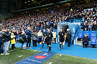 Referee Paul Tierney leads colleagues and the two teams onto the pitch during The Emirates FA Cup Fifth Round match between Sheffield Wednesday and Swansea City at Hillsborough, Sheffield, England, UK. Saturday 17 February 2018
