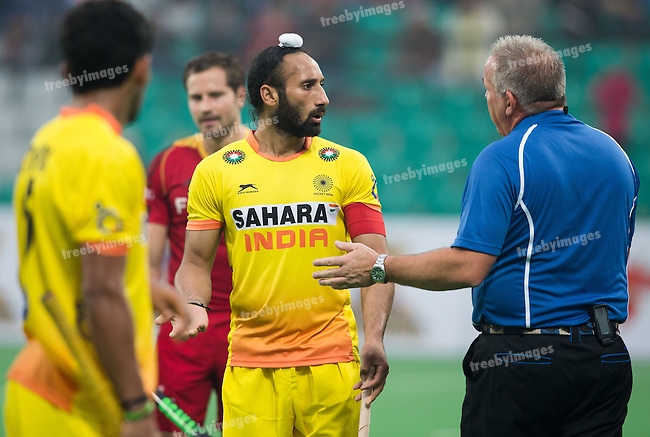 Mens Hockey World league Final Delhi 2014<br /> Day 6, 18-01-2014<br /> Position 5-6 Belgium v India<br /> Sardar Singh of India <br /> <br /> Photo: Grant Treeby / treebyimages