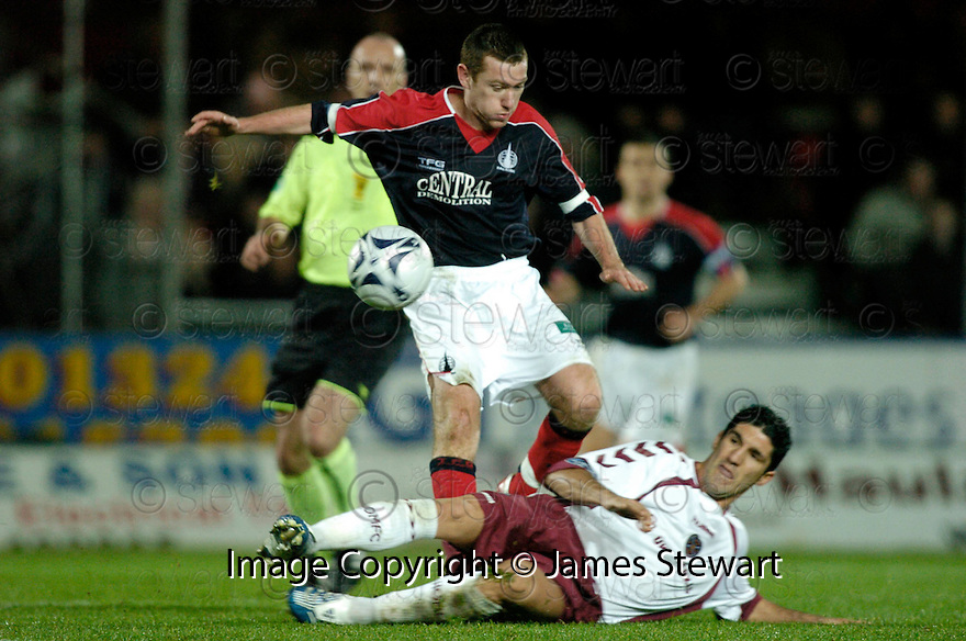 13/11/2006       Copyright Pic: James Stewart.File Name :sct_jspa13_falkirk_v_hearts.BRUNO AGUIAR CHALLENGES PATRICK CREGG.James Stewart Photo Agency 19 Carronlea Drive, Falkirk. FK2 8DN      Vat Reg No. 607 6932 25.Office     : +44 (0)1324 570906     .Mobile   : +44 (0)7721 416997.Fax         : +44 (0)1324 570906.E-mail  :  jim@jspa.co.uk.If you require further information then contact Jim Stewart on any of the numbers above.........