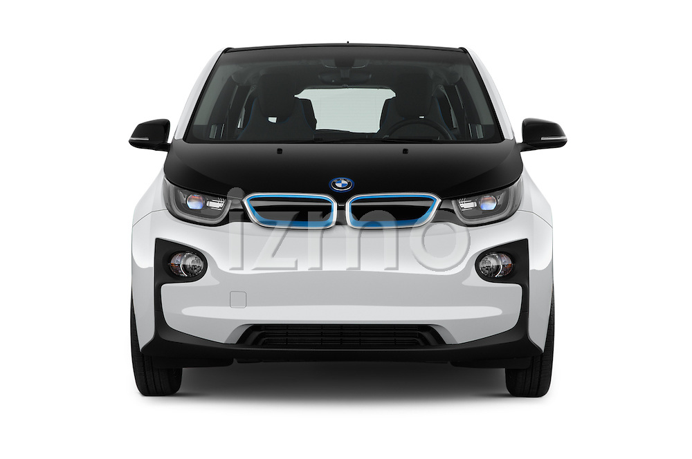 Car photography straight front view of a 2017 BMW I3 Deka-World 5 Door Hatchback Front View