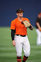 Frederick Keys shortstop Alejandro Juvier (6) warms up before the first game of a doubleheader against the Lynchburg Hillcats on June 13, 2018 at Nymeo Field at Harry Grove Stadium in Frederick, Maryland.  Frederick defeated Lynchburg 3-0.  (Mike Janes/Four Seam Images)