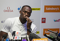 Usain Bolt of Jamaica (100/200m) during Pre Event Press Conference at Grange Tower Bridge Hotel, Prescott Street, The Sainsbury's Anniversary Games Diamond League Event. London, England on 23 July 2015. Photo by Andy Rowland.