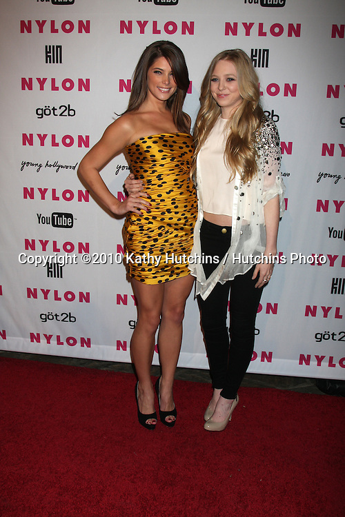 Ashley Greene & Portia Doubleday.arrives at the Nylon Magazine Young Hollywood Party 2010.Hollywood Roosevelt Hotel, Poolside.Los Angeles, CA.May 12, 2010.©2010 Kathy Hutchins / Hutchins Photo...