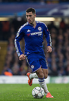 Eden Hazard of Chelsea on the ball during the UEFA Champions League Round of 16 2nd leg match between Chelsea and PSG at Stamford Bridge, London, England on 9 March 2016. Photo by Andy Rowland.
