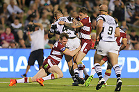 Picture by David Neilson/SWpix.com/PhotosportNZ - 10/02/2018 - Rugby League - Betfred Super League - Wigan Warriors v Hull FC  - WIN Stadium, Wollongong, Australia - Hull FC's Josh Griffin is tackled by Wigan's Dan Sarginson & Sam Powell.