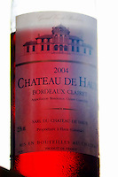 A bottle of Chateau de Haux rose clairet wine backlit Chateau de Haux Premieres Cotes de Bordeaux Entre-deux-Mers Bordeaux Gironde Aquitaine France