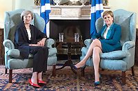 15 July 2016 - New British Prime Minister Theresa May meeting First Minister of Scotland, Nicola Sturgeon at Bute House in Edinburgh, Scotland. Prior to the meeting, Mrs May said, This visit to Scotland is my first as prime minister and I'm coming here to show my commitment to preserving this special union that has endured for centuries. Photo Credit: ALPR/AdMedia