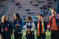 Seattle, WA - April 15th, 2017: Former Seattle Reign FC midfielder, Keelin Winters is recognized prior to a regular season National Women's Soccer League (NWSL) match between the Seattle Reign FC and Sky Blue FC at Memorial Stadium.