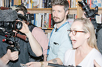 Members of the press ask questions to Democratic presidential candidate Pete Buttigieg after a campaign event at Gibson's Bookstore in Concord, New Hampshire, USA, on Sat., Apr. 6, 2019. Buttigieg is the mayor of South Bend, Indiana, and was widely considered a long-shot candidate until his appearance in a CNN town hall in March 2019 which catapulted his campaign to prominence and substantial donations.
