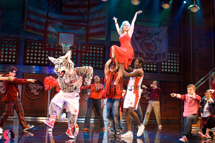 High School Musical , A Disney Theatrical Production based on the Walt Disney Film. With Rebecca Faulkenberry as Sharpay Evans[held up].Opens at The Hammersmith Apollo Theatre  on 5/7/08. CREDIT Geraint Lewis