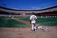 SAN FRANCISCO, CA - Will Clark of the San Francisco Giants waits in the on deck circle during game at Candlestick Park in San Francisco, California in 1988. Photo by Brad Mangin