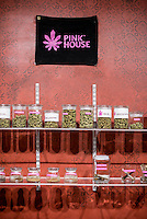 Jars of marijuana at Pink House, a marijuana dispensary in Denver, Colorado, Sunday, January 26, 2013. <br /> <br /> Photo by Matt Nager