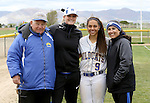 Gabrielle Canibeyaz with coaches at the Sophomore Day celebration after the first game of the Western Nevada College softball doubleheader on Saturday, April 30, 2016 at Pete Livermore Sports Complex. Photo by Shannon Litz/Nevada Photo Source