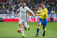 Isco Alarcon of Real Madrid competes for the ball with during the match of Spanish La Liga between Real Madrid and UD Las Palmas at  Santiago Bernabeu Stadium in Madrid, Spain. March 01, 2017. (ALTERPHOTOS / Rodrigo Jimenez) /NORTEPHOTOmex