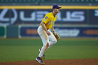 LSU Tigers shortstop Collier Cranford (16) on defense against the Oklahoma Sooners in game seven of the 2020 Shriners Hospitals for Children College Classic at Minute Maid Park on March 1, 2020 in Houston, Texas. The Sooners defeated the Tigers 1-0. (Brian Westerholt/Four Seam Images)