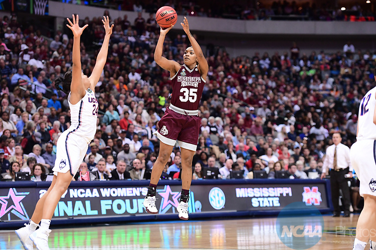 DALLAS, TX - MARCH 31:  Victoria Vivians #35 of the Mississippi State Lady Bulldogs, shoots during the 2017 Women's Final Four at American Airlines Center on March 31, 2017 in Dallas, Texas. (Photo by Justin Tafoya/NCAA Photos via Getty Images)