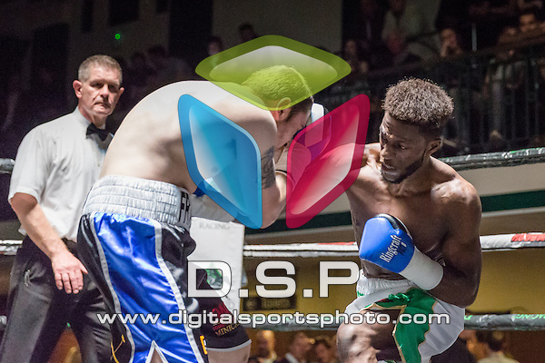 Mwenya Chisanga VS Danny Parsons - Light-welterweight Contest. Photo by: Stephen Smith<br /> <br /> Goodwin Boxing: New Era - Saturday 5th Sept 2015.<br /> <br /> York Hall, Bethnal Green, London, United Kingdom.