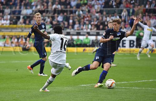 03.04.2016. Monchengladbach, Germany.  Bundesliga Football. Borussia Monchengladbach versus Hertha Berlin.   Ibrahima Traore Borussia Moenchengladbach left scores the goal for 5 0
