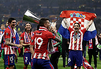 Club Atletico de Madrid's Lucas Hernandez holds the trophy at the end of the UEFA Europa League final football match between Olympique de Marseille and Club Atletico de Madrid at the Groupama Stadium in Decines-Charpieu, near Lyon, France, May 16, 2018. Club Atletico de Madrid won 3-0.<br /> UPDATE IMAGES PRESS/Isabella Bonotto