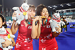(L to R) <br /> Kimika Hoshi, <br />  Mami Karino (JPN), <br /> AUGUST 31, 2018 - Hockey : <br /> Women's Final match <br /> between Japan 2-1 India  <br /> at Gelora Bung Karno Hockey Field <br /> during the 2018 Jakarta Palembang Asian Games <br /> in Jakarta, Indonesia. <br /> (Photo by Naoki Morita/AFLO SPORT)