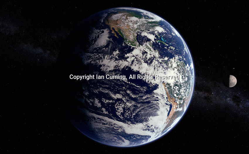 Digitally manipulated image from space of the Pacific Ocean and North and South America