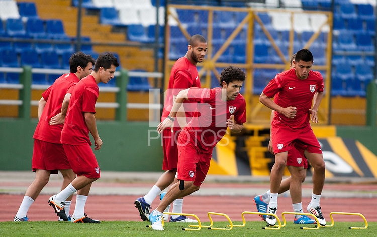 Herculez Gomez (center) goes through some training at Estadio Mateo Flores in Guatemala City, Guatemala on Mon. June 11, 2012.  The USA will face Guatemala in a World Cup Qualifier on Tuesday.