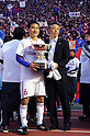 (L-R) Yasuyuki Konno,  Kiyoshi Okuma (FC Tokyo), JANUARY 1, 2012 - Football / Soccer : F.C.Tokyo head coach Kiyoshi Okuma and captain Yasuyuki Konno celebrate with the trophy after winning the 91st Emperor's Cup final match between Kyoto Sanga F.C. 2-4 F.C.Tokyo at National Stadium in Tokyo, Japan. (Photo by Takahisa Hirano/AFLO)