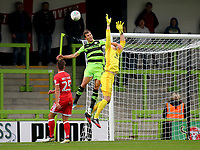 MK Dons goalkeeper, Lee Nicholls, is fouled by a Forest Green Rovers opponent during Forest Green Rovers vs MK Dons, Caraboa Cup Football at The New Lawn on 8th August 2017