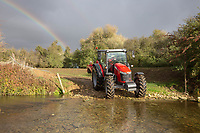 Tractor crossing a river <br /> &copy;Tim Scrivener Photographer 07850 303986<br />      ....Covering Agriculture In The UK....