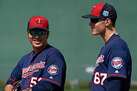 Minnesota Twins first baseman Byung Ho Park (52) and Max Kepler (67) during a Spring Training practice on March 1, 2016 at Hammond Stadium in Fort Myers, Florida.  (Mike Janes/Four Seam Images)