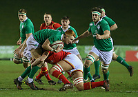 Ireland U20's Ciaran Frawley is tackled by Wales U20's Shane Lewis-Hughes<br /> <br /> Photographer Alex Dodd/CameraSport<br /> <br /> RBS Six Nations U20 Championship Round 4 - Wales U20s v Ireland U20s - Saturday 11th March 2017 - Parc Eirias, Colwyn Bay, North Wales<br /> <br /> World Copyright &copy; 2017 CameraSport. All rights reserved. 43 Linden Ave. Countesthorpe. Leicester. England. LE8 5PG - Tel: +44 (0) 116 277 4147 - admin@camerasport.com - www.camerasport.com