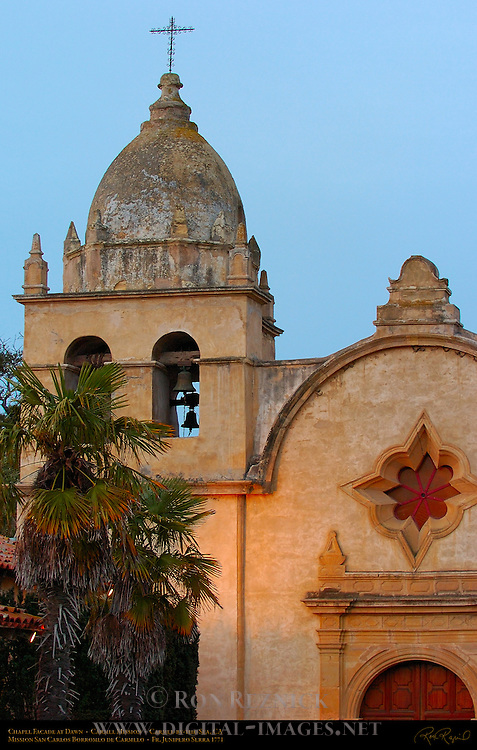 Carmel Mission Chapel Facade at Dawn, Mission San Carlos Borromeo de Carmelo 1771, Carmel-by-the-Sea, California