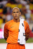 United States goalkeeper Tim Howard (1). The men's national team of the United States (USA) was defeated by Ecuador (ECU) 1-0 during an international friendly at Red Bull Arena in Harrison, NJ, on October 11, 2011.