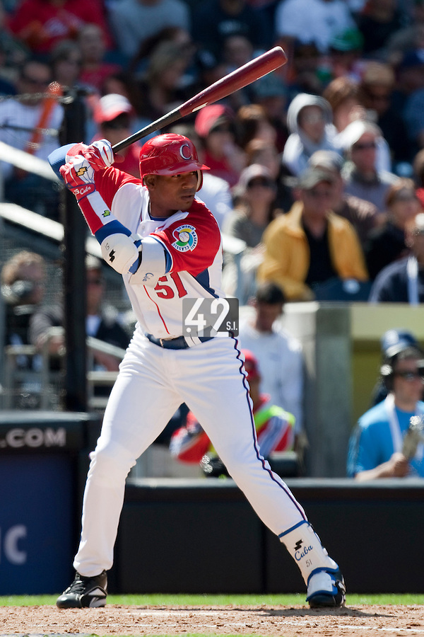 15 March 2009: #51 Yoennis Cespedes of Cuba is seen at bat during the 2009 World Baseball Classic Pool 1 game 1 at Petco Park in San Diego, California, USA. Japan wins 6-0 over Cuba.