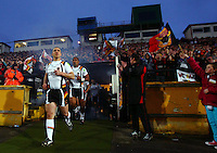 PICTURE BY VAUGHN RIDLEY/SWPIX.COM - Rugby League - Super League - Bradford Bulls v Leeds Rhinos - Odsal, Bradford, England - 06/04/12 - Bradford's Matt Diskin leads his team out of the tunnel at Odsal, possibly for the last time.