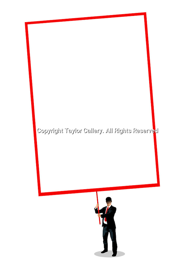 Businessman holding blank placard ExclusiveImage