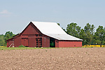 Red barn, plowed field, rural Ill.