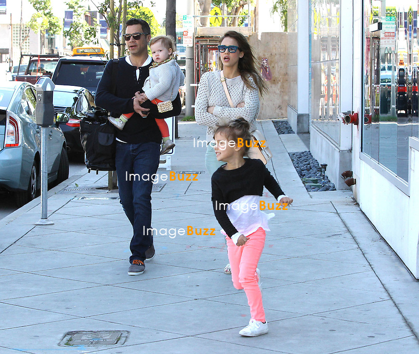 Jessica Alba with husband Cash Warren and their two kids, Honor Warren and Haven Warren, enjoying some family time in Beverly Hills..Los Angeles, March 9, 2013.