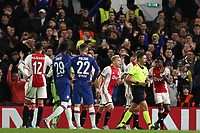 5th November 2019; Stamford Bridge, London, England; UEFA Champions League Football, Chelsea Football Club versus Ajax; The Ajax players argue with the referee after sending 2 players off - Editorial Use
