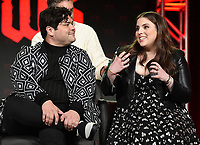 PASADENA, CA - FEBRUARY 4: (L-R) Cast Members Harvey Gullen and Beanie Feldstein during the WHAT WE DO IN THE SHADOWS panel for the 2019 FX Networks Television Critics Association Winter Press Tour at The Langham Huntington Hotel on February 4, 2019 in Pasadena, California. (Photo by Frank Micelotta/FX/PictureGroup)