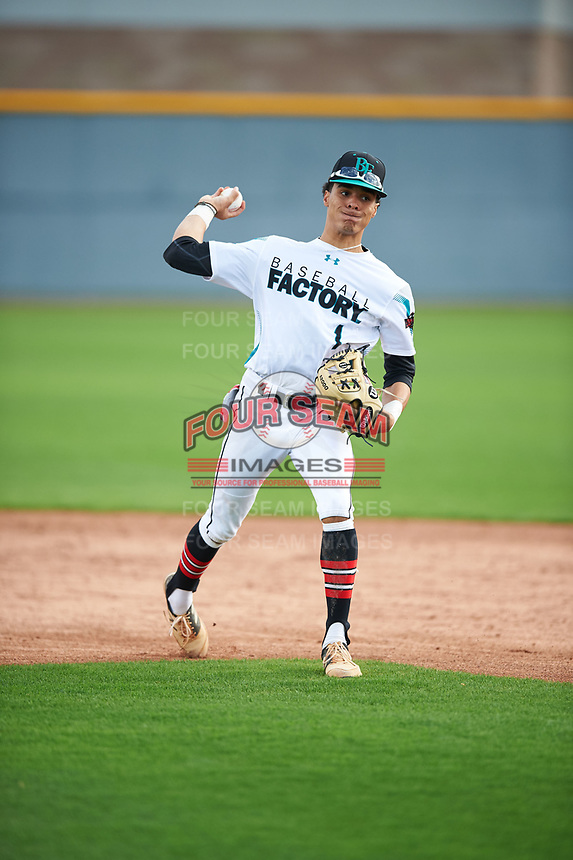 Bryce Daniel (1) of Providence Day High School in Matthews, North Carolina during the Under Armour All-American Pre-Season Tournament presented by Baseball Factory on January 14, 2017 at Sloan Park in Mesa, Arizona.  (Mike Janes/MJP/Four Seam Images)