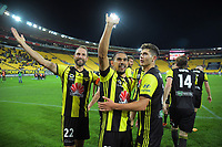 David Williams celebrates his hat-trick during the A-League football match between Wellington Phoenix and Newcastle Jets at Westpac Stadium in Wellington, New Zealand on Saturday, 30 March 2019. Photo: Dave Lintott / lintottphoto.co.nz